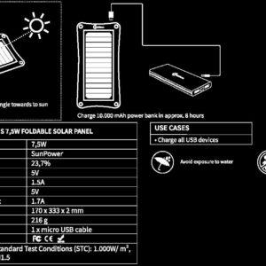 Handleiding 7,5W lichtgewicht draagbaar zonnepaneel