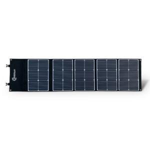 100W 18V lichtgewicht mobiel zonnepaneel Mobisun uitgeklapt voorkant