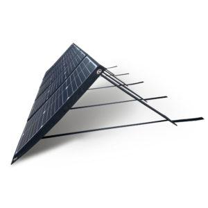 100W 18V lichtgewicht mobiel zonnepaneel Mobisun uitgeklapt schuin