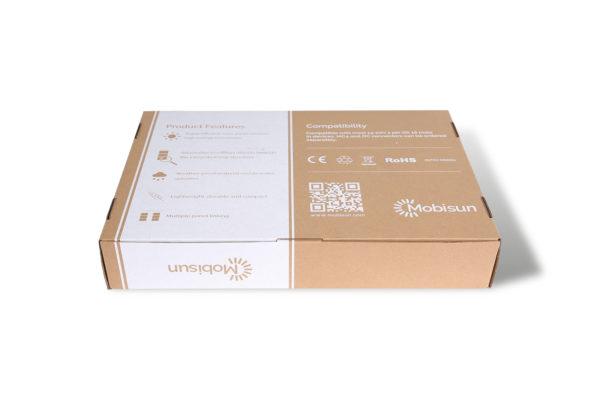 100W lichtgewicht draagbaar zonnepaneel Mobisun verpakking achterkant