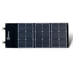60W Mobisun draagbaar mobiel portable lichtgewicht zonnepaneel uitgevouwen voorzijde