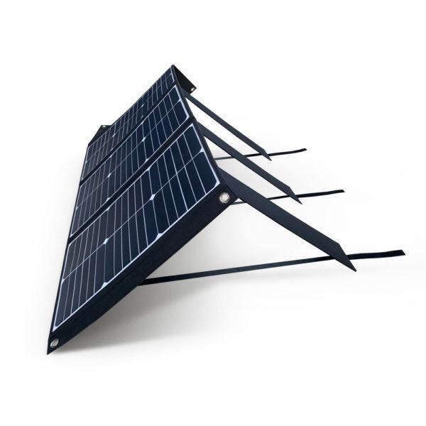 60W Mobisun draagbaar mobiel portable lichtgewicht zonnepaneel uitgeklapt zijkant
