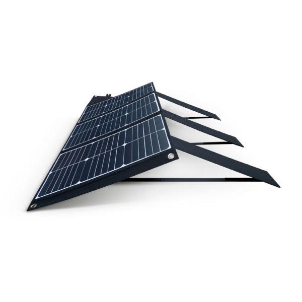 60W Mobisun draagbaar mobiel portable lichtgewicht zonnepaneel uitgeklapt zijkant schuin